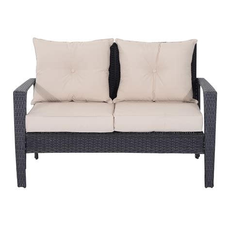 wicker sofa set outsunny 4 outdoor rattan wicker loveseat and chair