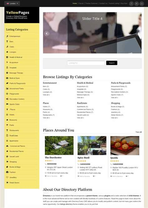 Yellow Pages Website Template Free Download 50 Best Listing Directory Wordpress Themes 2018 Yellow Pages Website Template Free
