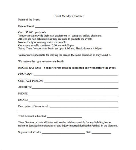 contract template pdf event contract template 9 documents in pdf