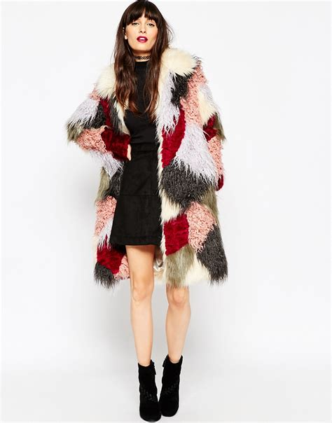 Patchwork Fur - lyst asos swing coat in patchwork faux fur
