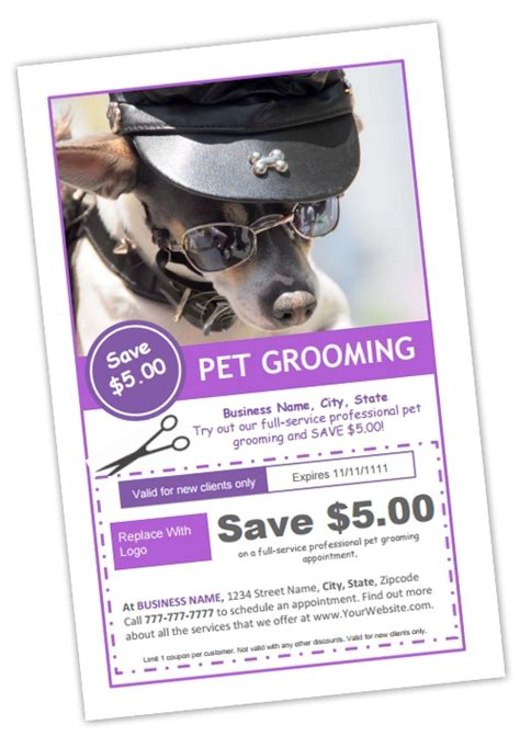 grooming flyers template grooming coupon template b