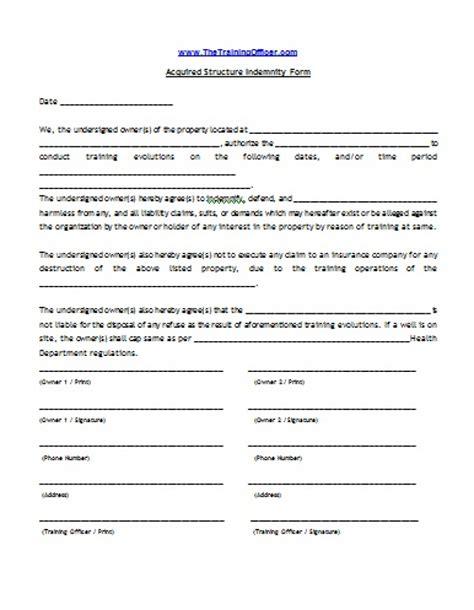 indemnity form template indemnity form template