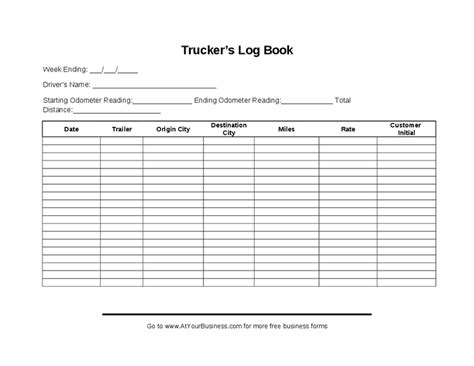 Driving Log Template Charlotte Clergy Coalition Free Truckers Log Book Template