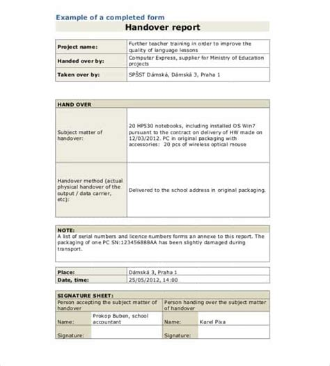 handover report template 20 free word pdf documents