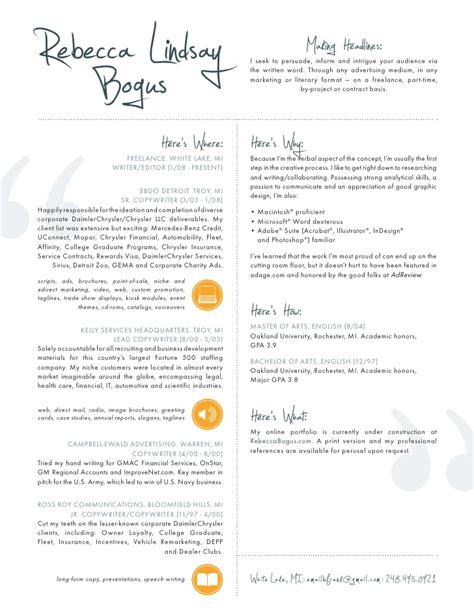 Creative Copywriter Sle Resume by Resume Copywriter Editor