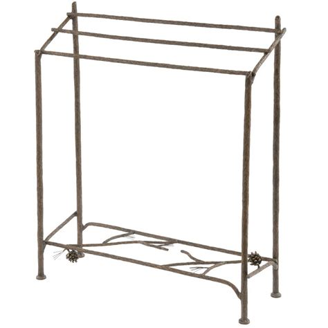 Iron Quilt Stand rustic pine blanket stand