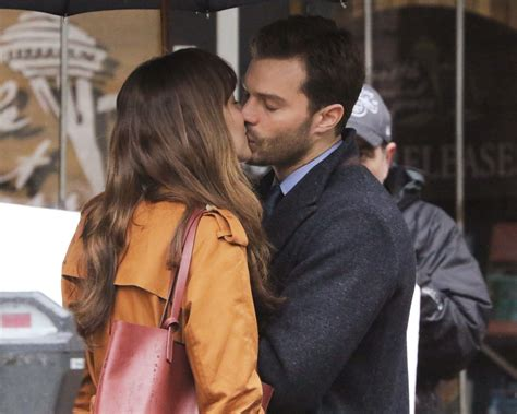 fifty shades darker filming video dakota johnson and jamie dornan spotted kissing while