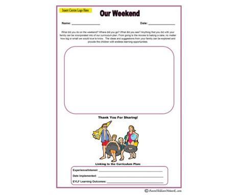 Our Weekend Parent Input Aussie Childcare Network Child Care Portfolio Templates