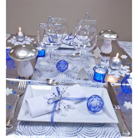 decoration table noel bleu