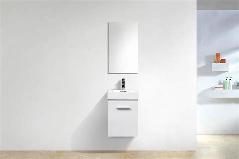 gw bathrooms bliss 16 quot high gloss white wall mount modern bathroom vanity