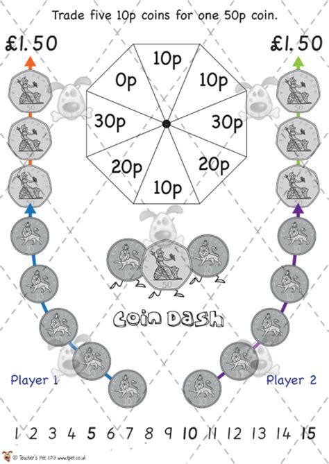 Printable Money Board Games Ks1 | teacher s pet 10p coin dash game premium printable