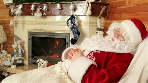 sleeping sana claus old tired santa snoozing after hard