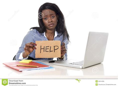 American Help Desk by Black American Ethnicity In Work Stress At Asking For Help Stock Photo Image