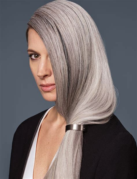 brown long hair with grey aroung front haircolor trends inspiration redken