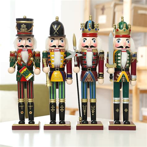 hand making home decoration 4pieces 30cm colorful wood nutcracker soldier ornament for