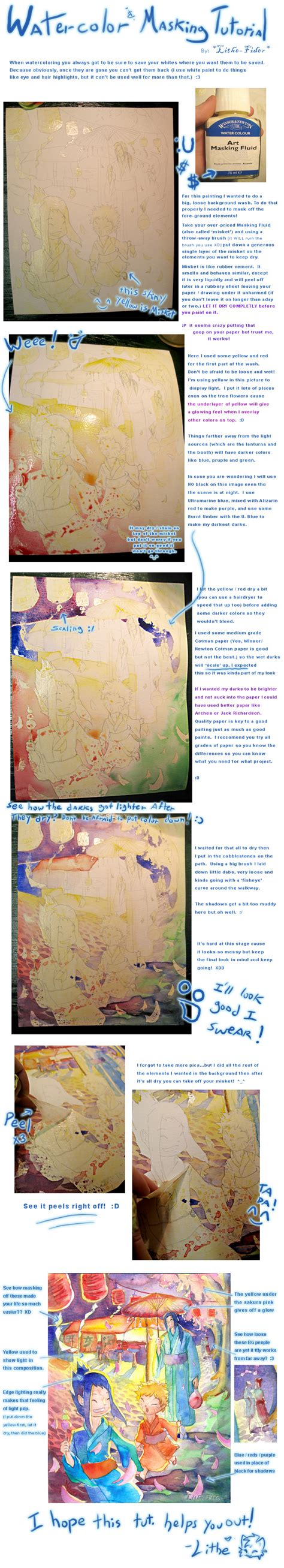 watercolor masking tutorial watercolor masking tutorial by lithe fider on deviantart