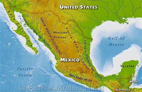 mexico physical map mexico physical map