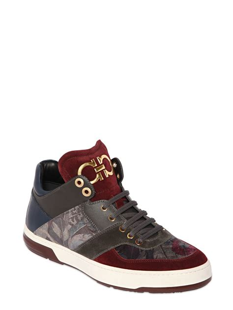 ferragamo sneaker ferragamo 2 velvet leather sneakers for lyst