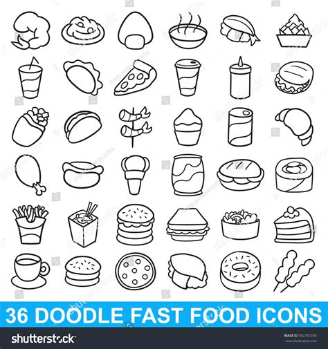 fast food doodle vector fast food doodle icon vector design stock vector 592767203