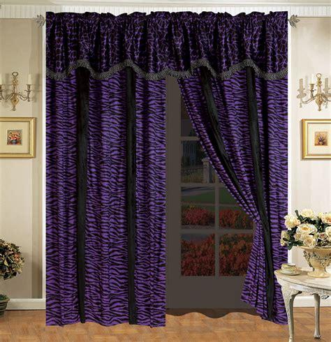 purple black curtains 4 pc safari micro fur curtain set giraffe zebra black