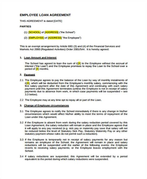 Loan Agreement Letter For Employees Loan Agreement Form Exle 65 Free Documents In Word Pdf