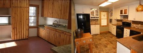 homemade kitchen cabinets this cabin s kitchen was transformed from a homemade log