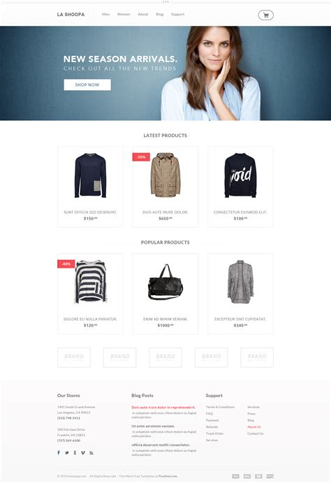 10 Free Website Psd Templates Graphicsfuel Web Ecommerce Templates