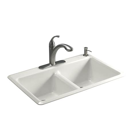 Shop Kohler Anthem Double Basin Drop In Enameled Cast Iron Cast Iron Kitchen Sinks