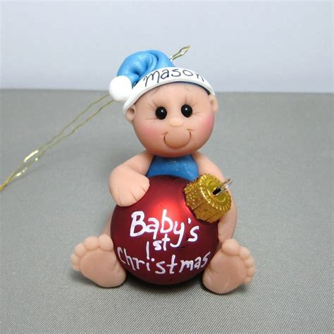 babys first christmas polymer clay ornament personalized