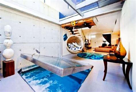 contemporary apartment  aquarium  floor designed