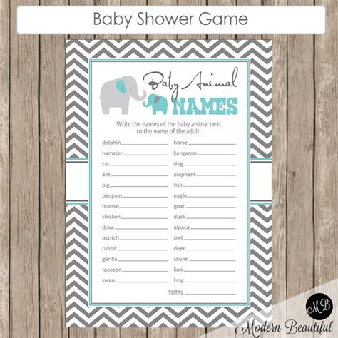 theme names for games baby animal names baby shower game elephant theme animal