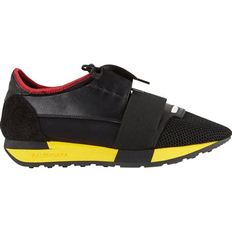 balenciaga s sneakers balenciaga fabric and leather sneakers in black lyst