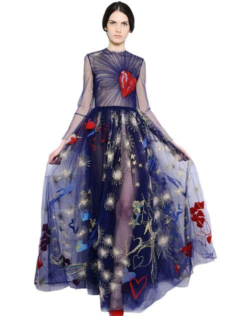 valentino silk blend gown in black lyst