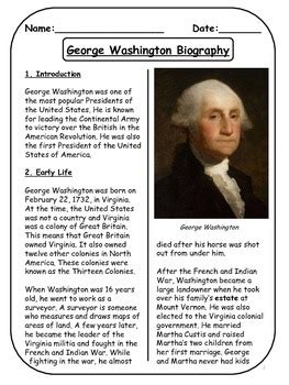 george washington biographical article  activities