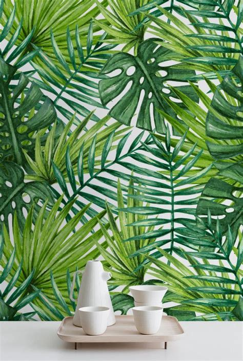 Banana Palm Wallpaper Australia | watercolor tropical palm leaves wallpaper tropical