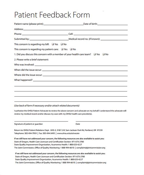 patient form template patient feedback form healthcare forms healthcare form