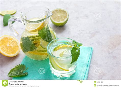 Lemon Lime Detox Water by Detox Water With Lime Lemon And Mint Stock Photo Image