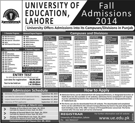 Mba Programs In Lahore Pakistan by Admissions Open 2014 15 In Of Education Lahore