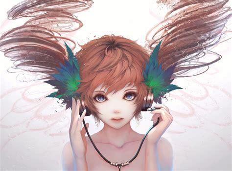 anime semi download 2370x1754 anime girl semi realistic headphones