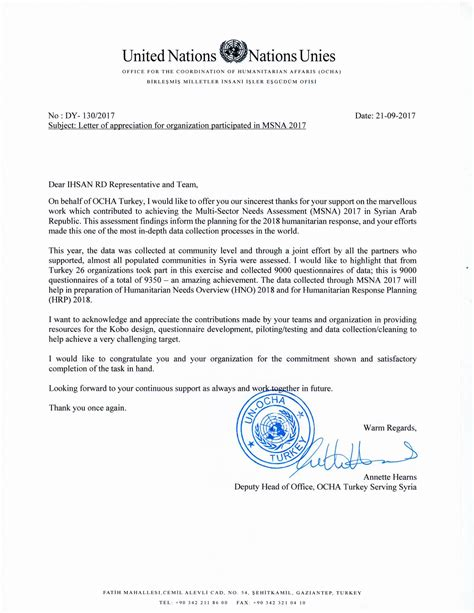 un appreciation letter a letter of appreciation from ocha for ihsan team ihsan