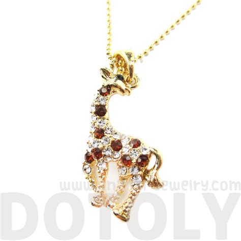 www jewelry classic giraffe shaped rhinestone animal inspired pendant