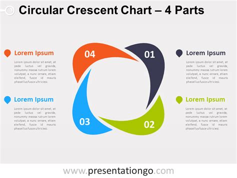 4 parts circular crescent powerpoint chart presentationgo
