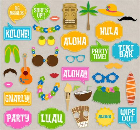 printable luau photo booth props 35 luau party theme hawaii photo booth props pixels and
