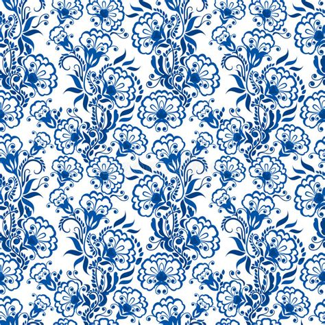 china blue pattern vector seamless blue floral pattern background or russian gzhel