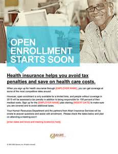 open enrollment email template ahart insurance services resources