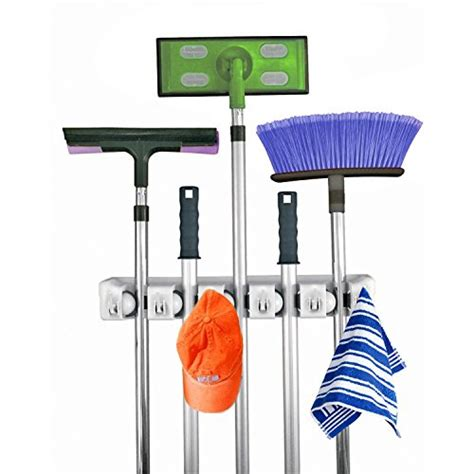 home it mop and broom holder 5 position with 6 hooks