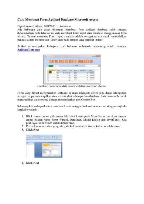 Membuat Aplikasi Database Dengan Xp | cara membuat form aplikasi database microsoft access