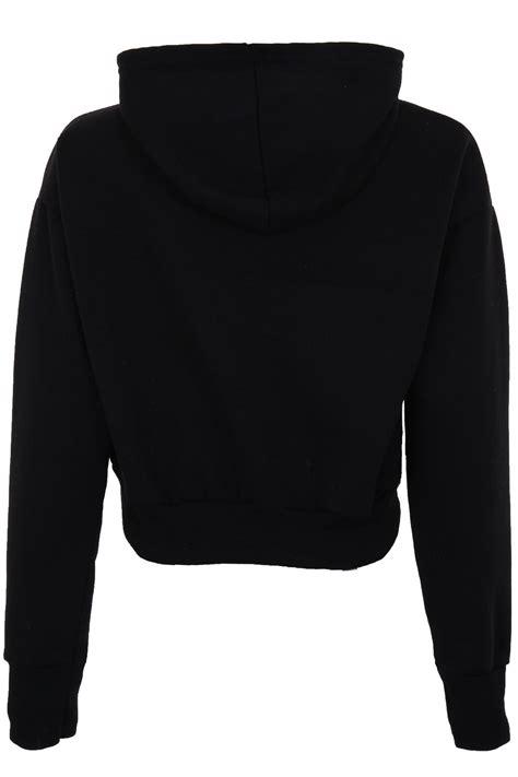 Smile Crop Hoodie Black hooded hangover hoodie pull s hoody crop