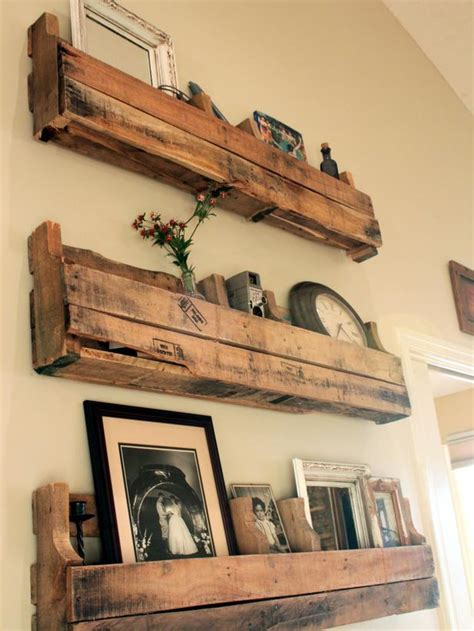 Living Room Wooden Shelves Reclaimed Wood Shelves Would To Put These In Our