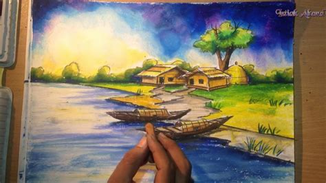 how to draw a boat with oil pastels how to draw a village scenery with oil pastel step by step